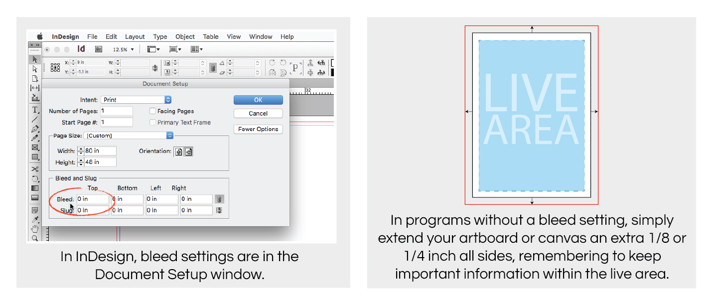 indesign docement setup for creating bleeds