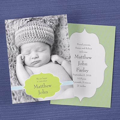 Linen announcements baby shower baby birth announcements