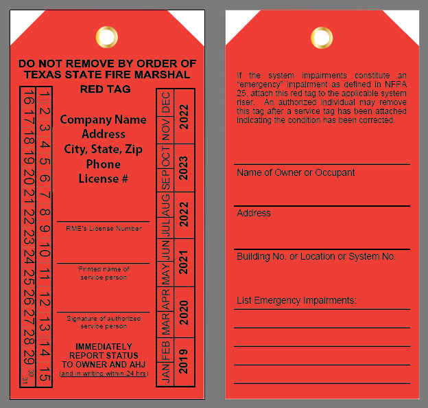 Texas Fire Sprinkler Tag - Red Tags