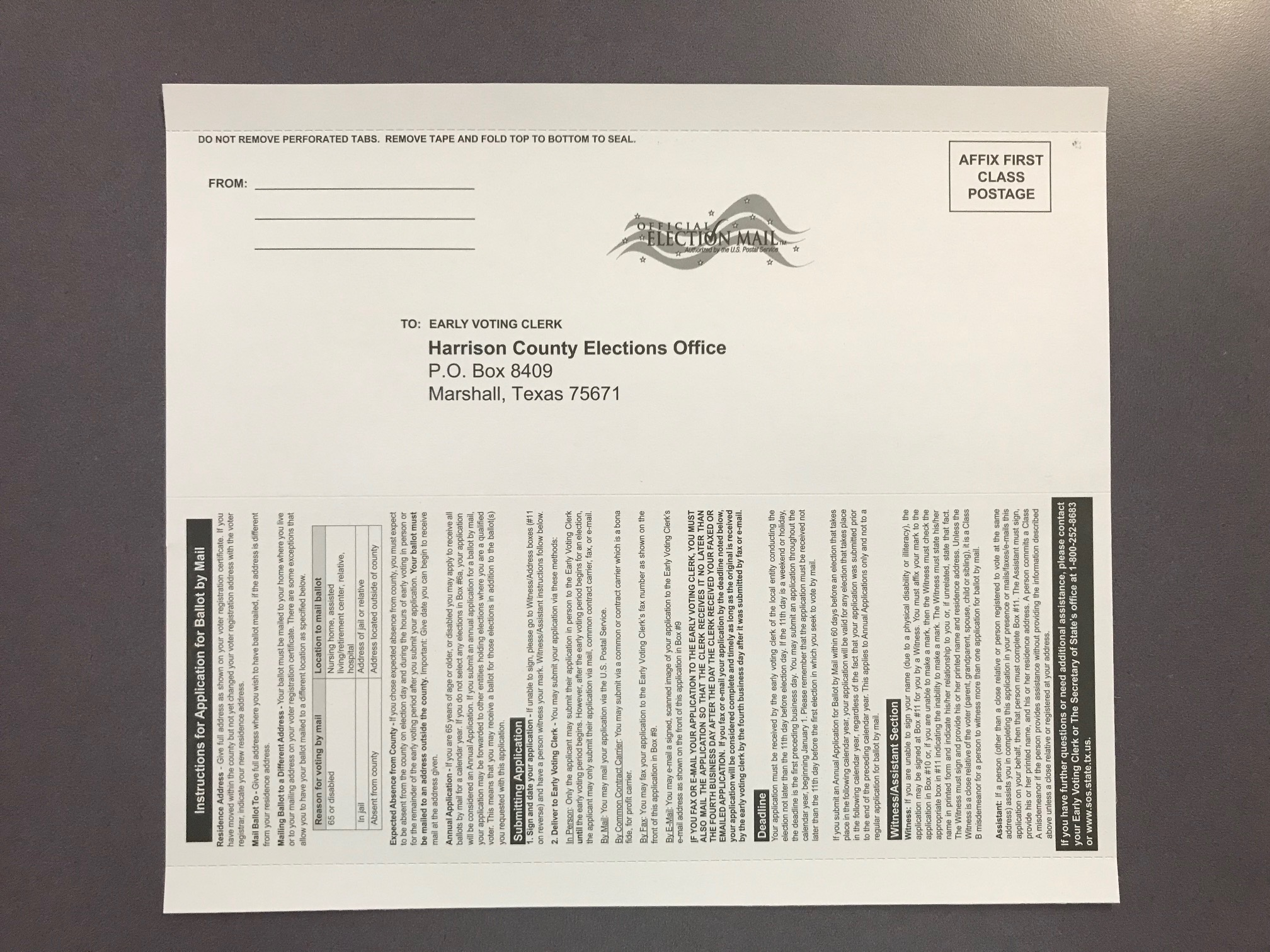 Ballot By Mail Application