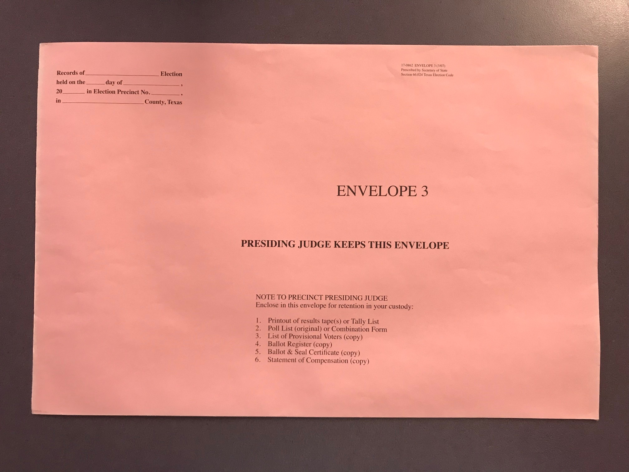 AW8-6 Precinct Presiding Judge Pink Envelope 10x15