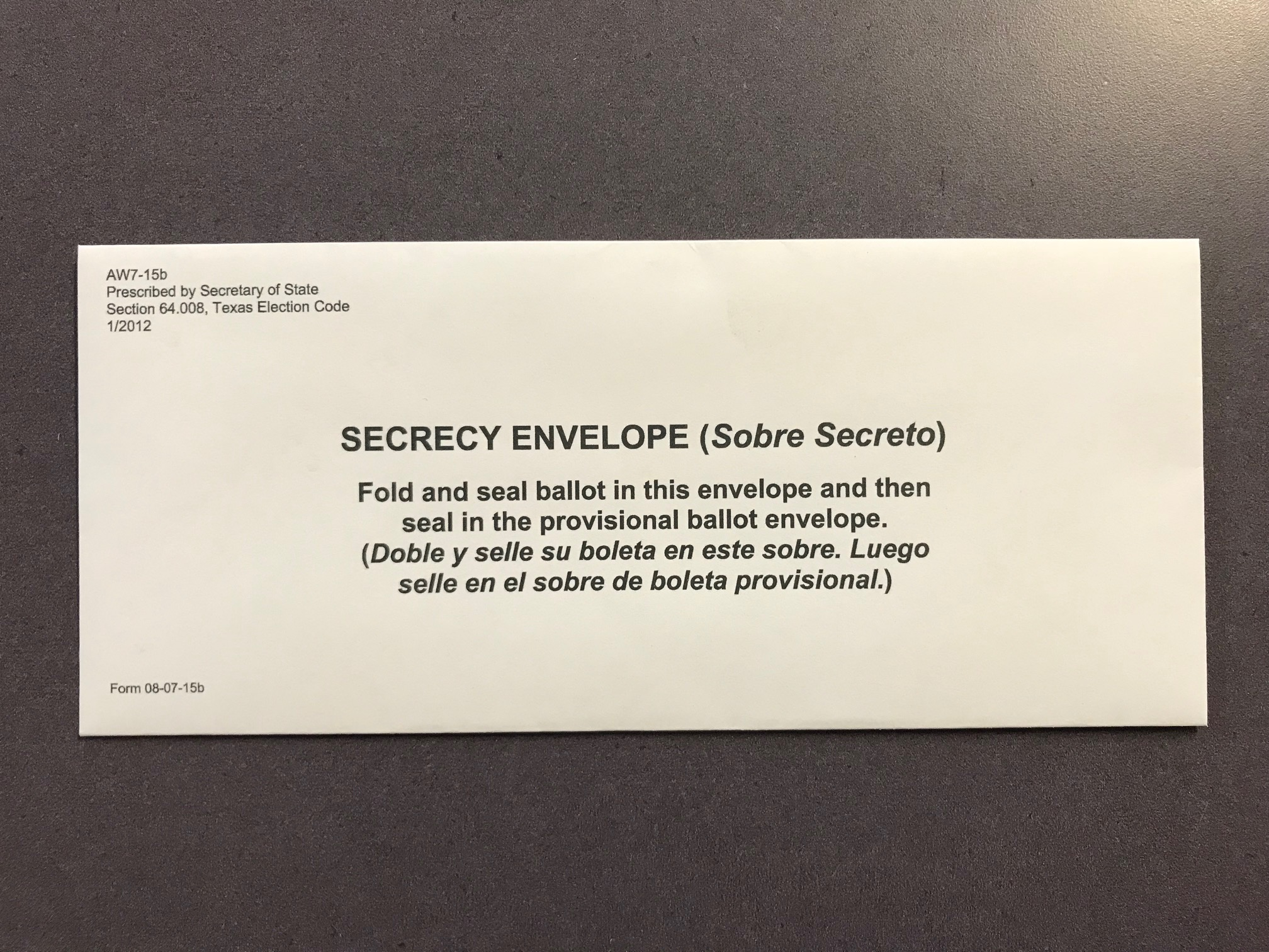 08-07S Secrecy Envelope