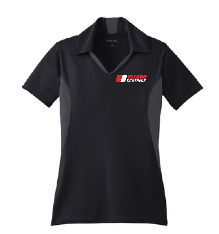 LST655 LADIES Sport-Tek Side Blocked Sport-Wick Polo BLACK/IRON GREY S-XL