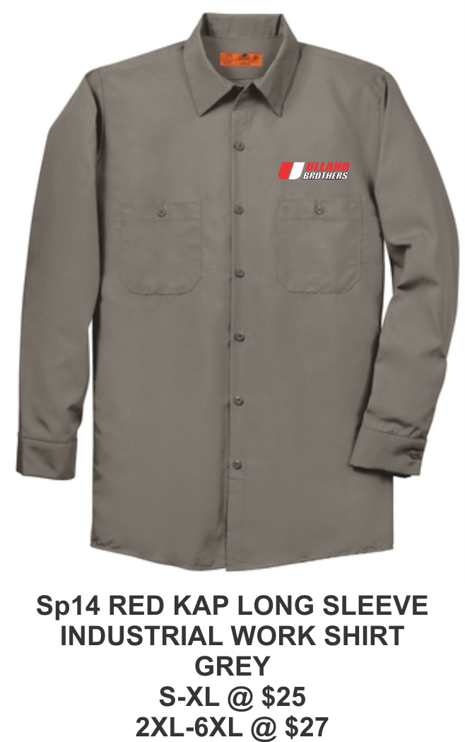 SP14 RED KAP LONG SLEEVE INDUSTRIAL WORK SHIRT  GREY