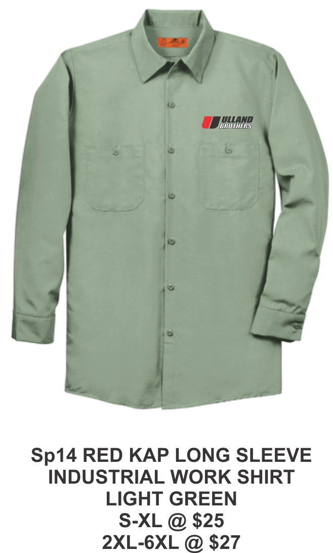 SP14 RED KAP LONG SLEEVE INDUSTRIAL WORK SHIRT LIGHT GREEN