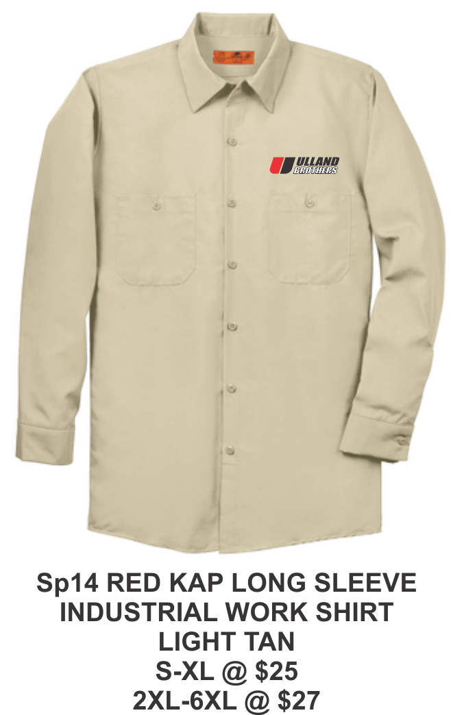 SP14 RED KAP LONG SLEEVE INDUSTRIAL WORK SHIRT LIGHT TAN