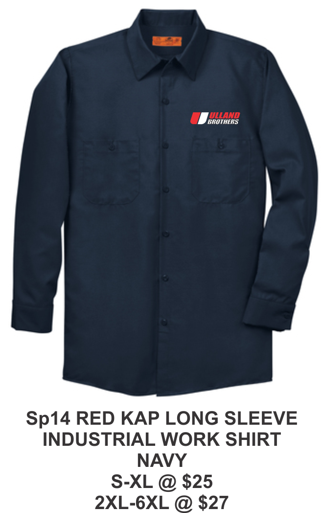SP14 RED KAP LONG SLEEVE INDUSTRIAL WORK SHIRT NAVY