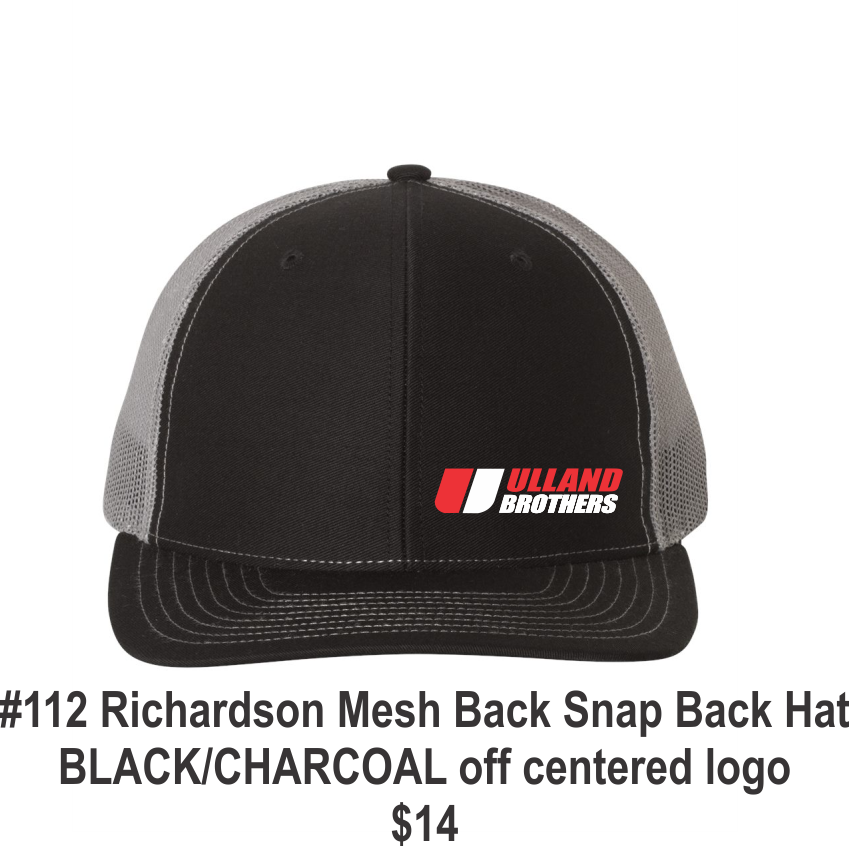 #112 Richarson Mesh Back Snap Back Black/Charcole off centered logo