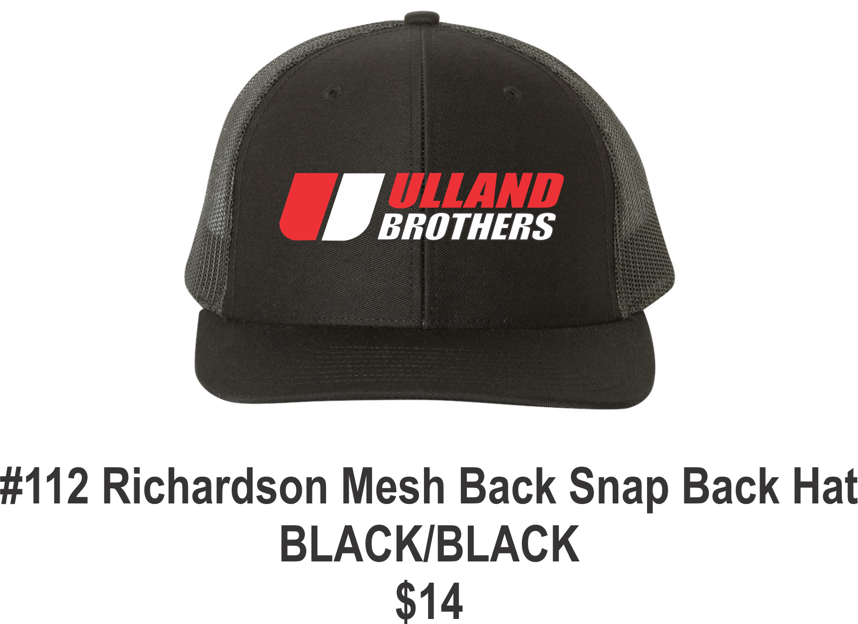 #112 Richardson Mesh Back Snap Back Hat Blk/ Blk