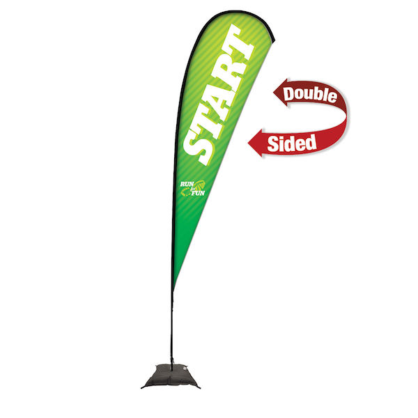 15ft Premium Teardrop Sail Sign Kit Double-Sided with Scissor Base