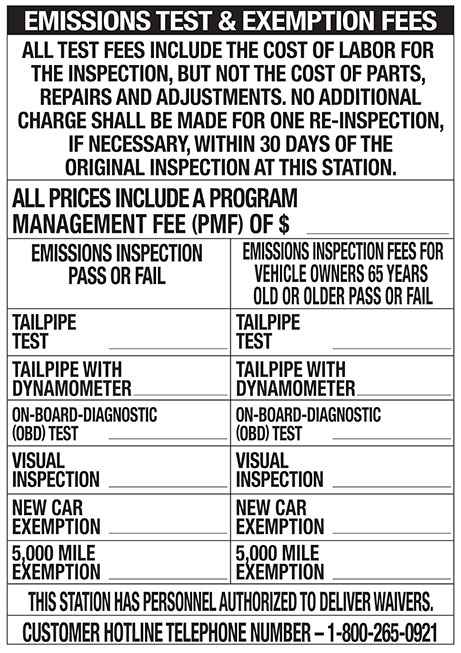 Emissions Test & Exemption Fee Poster