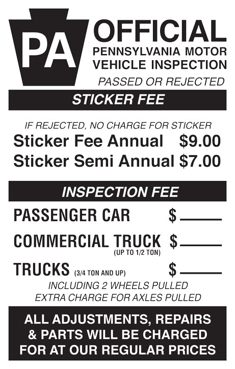 PA State Inspection Poster