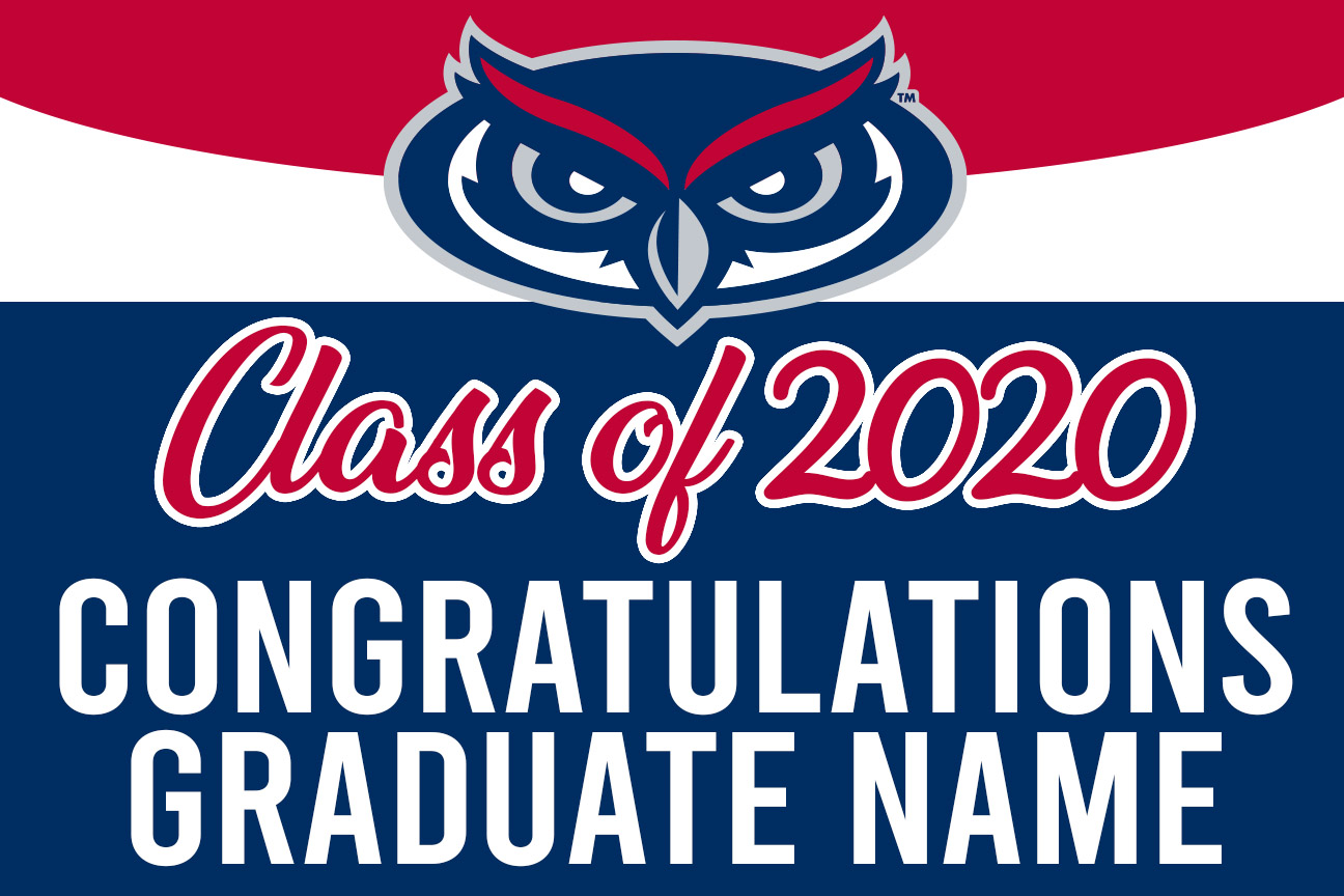 FAU graduation magnet with name 12x18