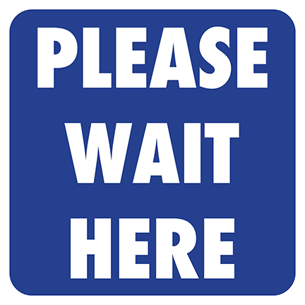 Please Wait Here Square Floor Decal