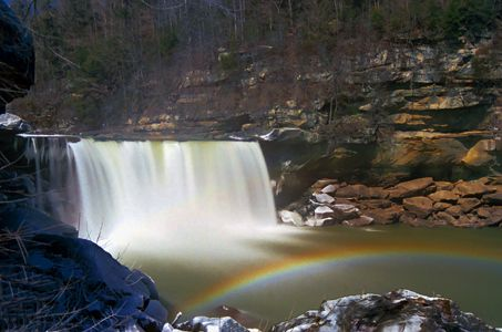 Canvas Print of moonbow at Cumberland Falls by Hinkle Printing