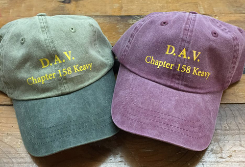 Custom screen-printed hats produced in the US of A
