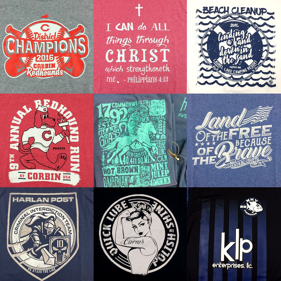 Many different types of t shirts printed by Hinkle Printing!