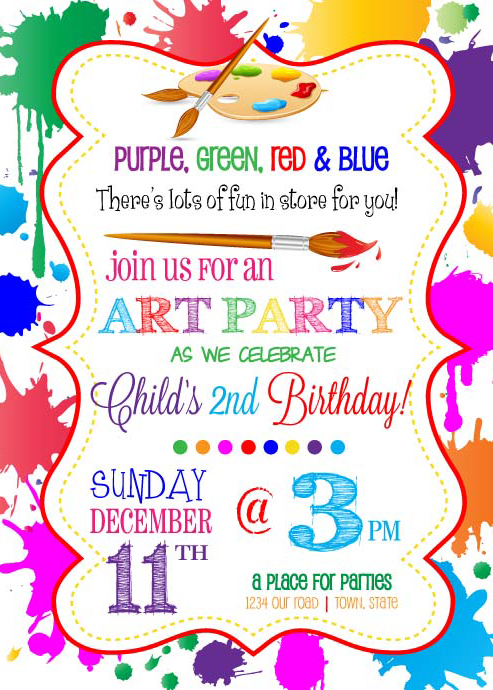 Theme coordinated Full Color Birthday Invitation