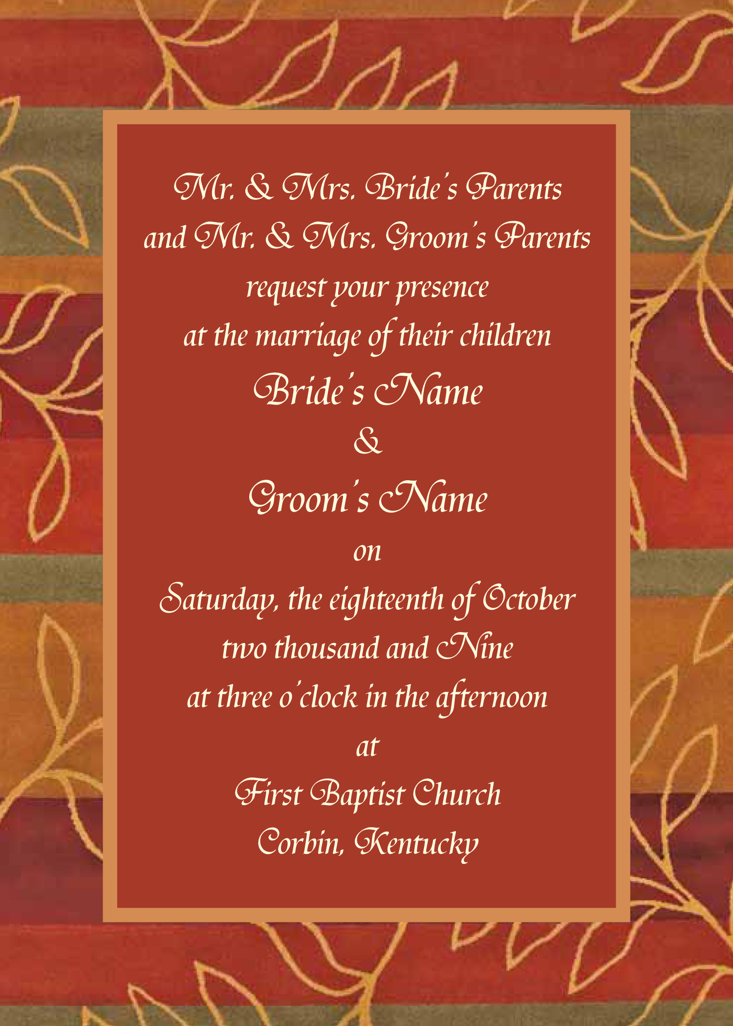 Autumn Wedding Sample Announcement/Invitation