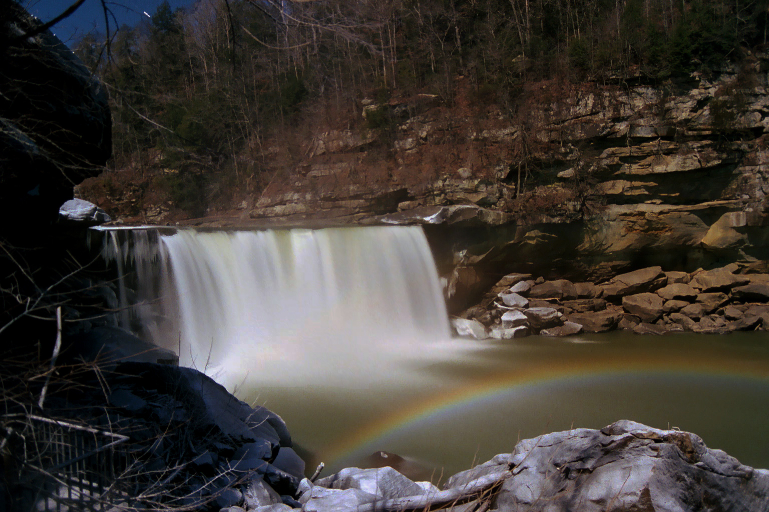 full color postcard of the Cumberland Falls Moonbow