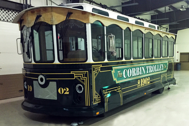 Expert Design & Graphics on a Unique Transit Vehicle...the Corbin Trolley Car !