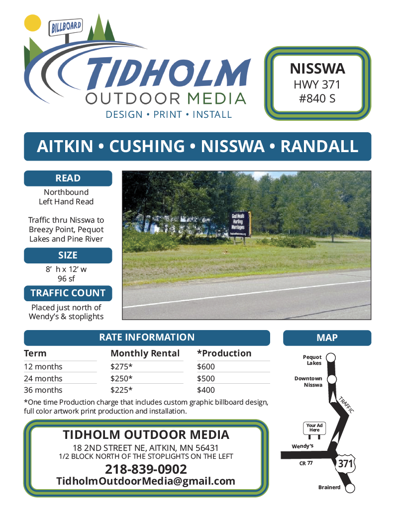 Nisswa Billboard 840 S