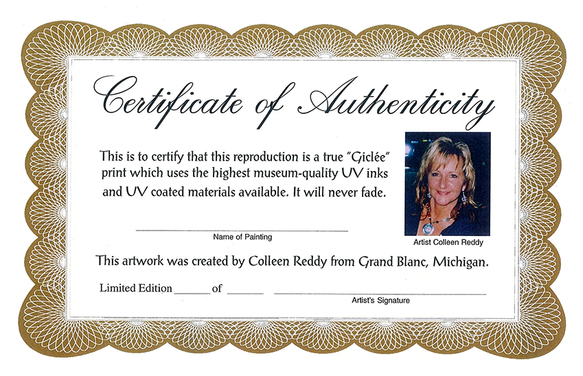 Colleen Reddy Giclee Certificate