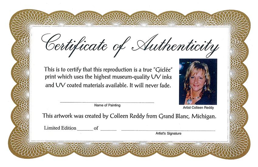 Artist Giclee Certificates