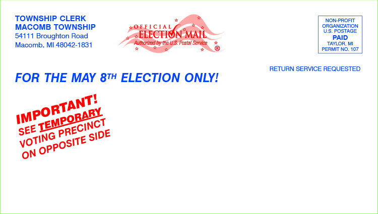 Postcards - Temporary Polling Place w/mailing 7 1/2 x 4 1/4