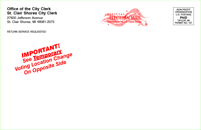 Postcards - Temporary Polling Place w/Mailing 8 1/2 x 5 1/2