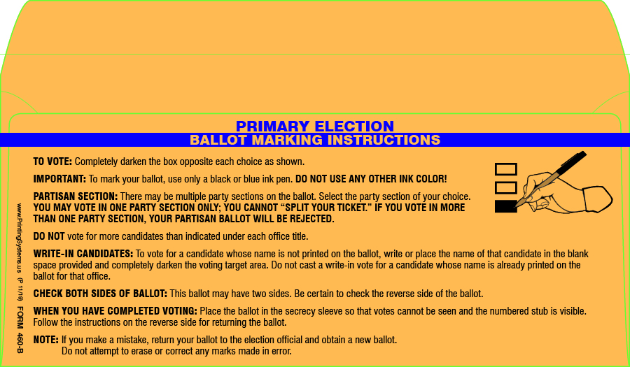 460-B AV Ballot Secrecy Envelopes (Primary) Boxes (500 per box)