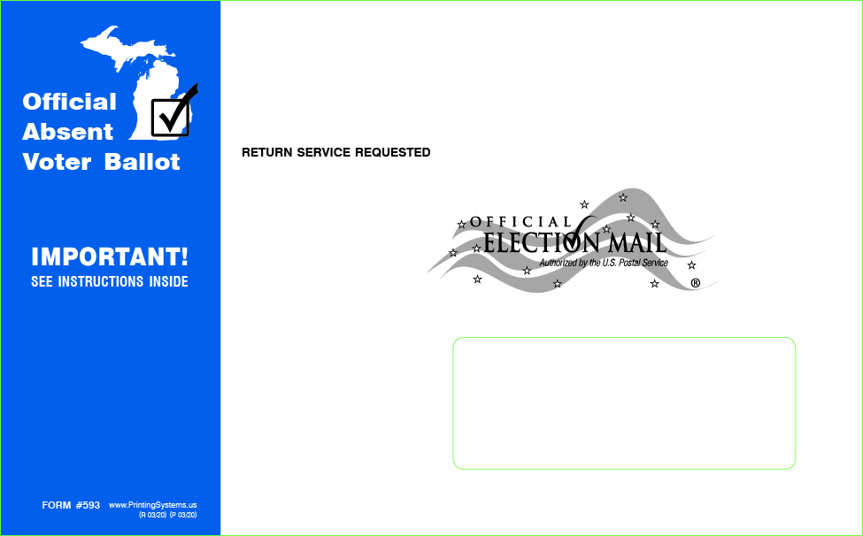 593 AV Ballot Outer Envelopes - Latex Self-seal - Stock (1000 per box)