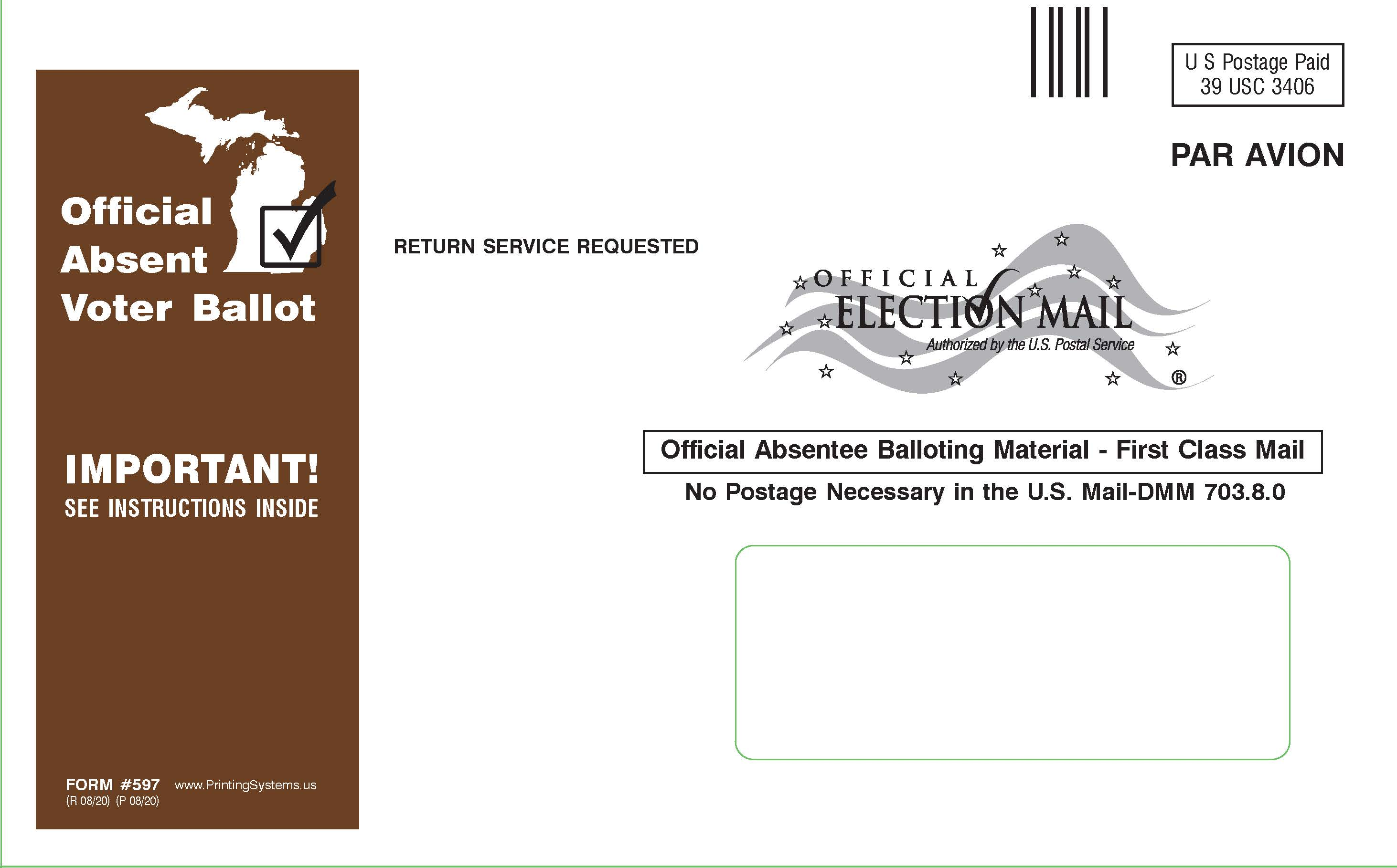 597 AirMail AV Ballot Outer Envelopes - Stock (25pkg)