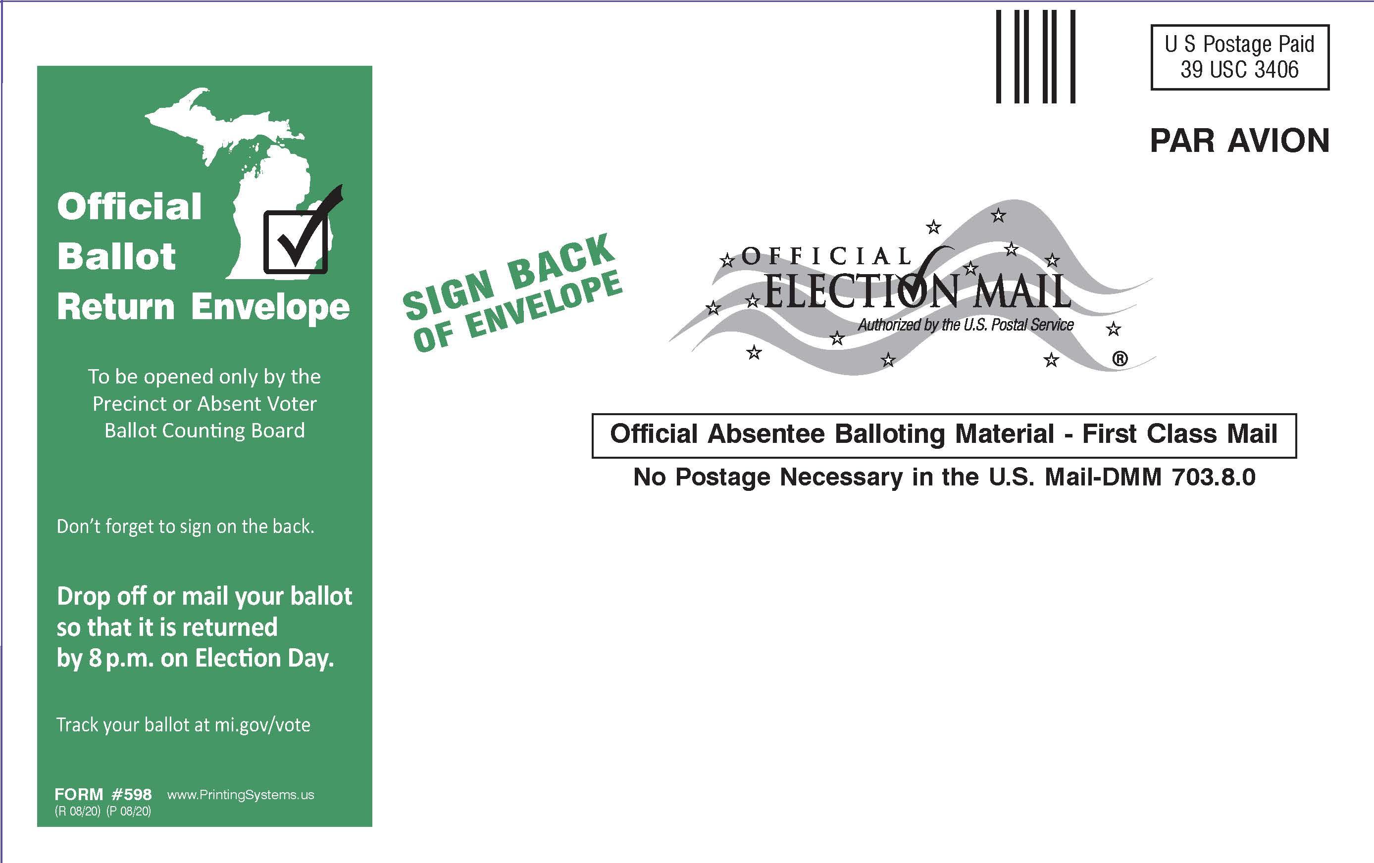 598 AirMail AV Ballot Return Envelopes - Stock (25 per pkg.)