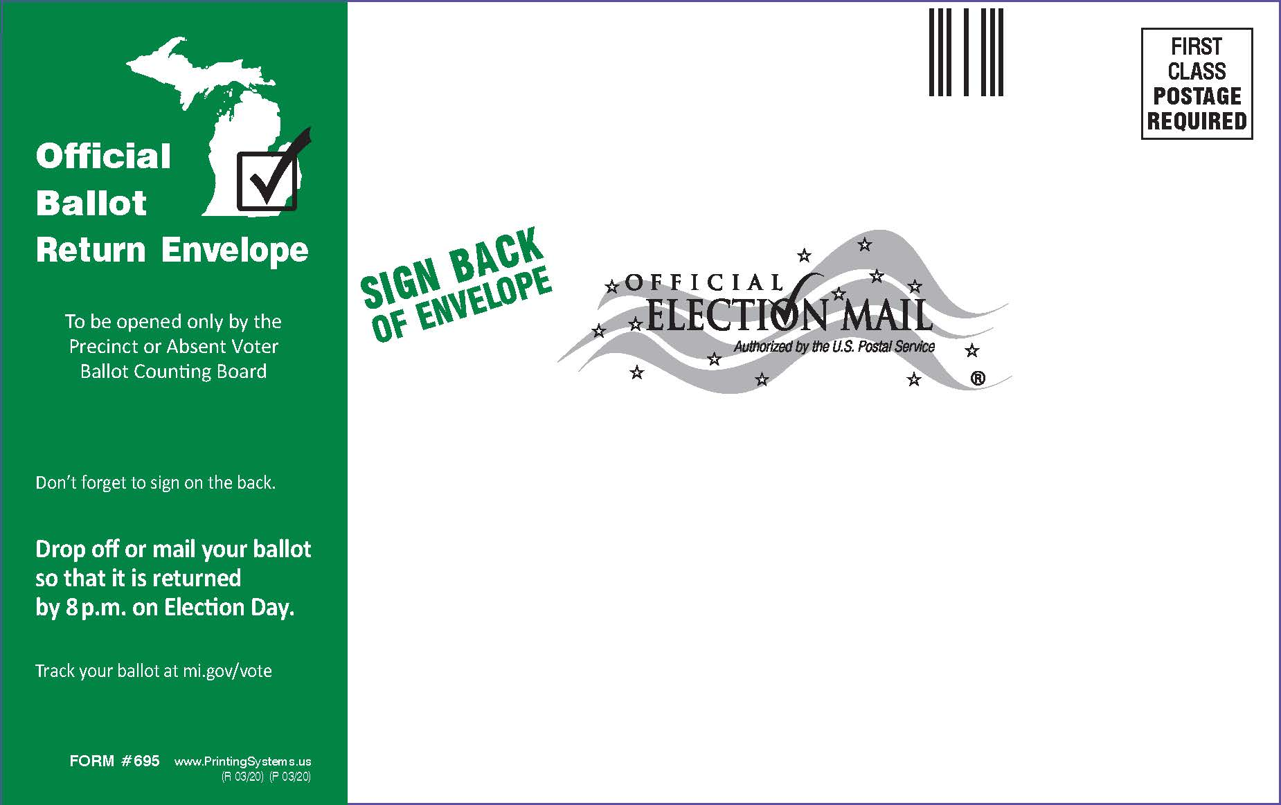 695 AV Ballot Return Envelope (No Zip Strip) - Stock