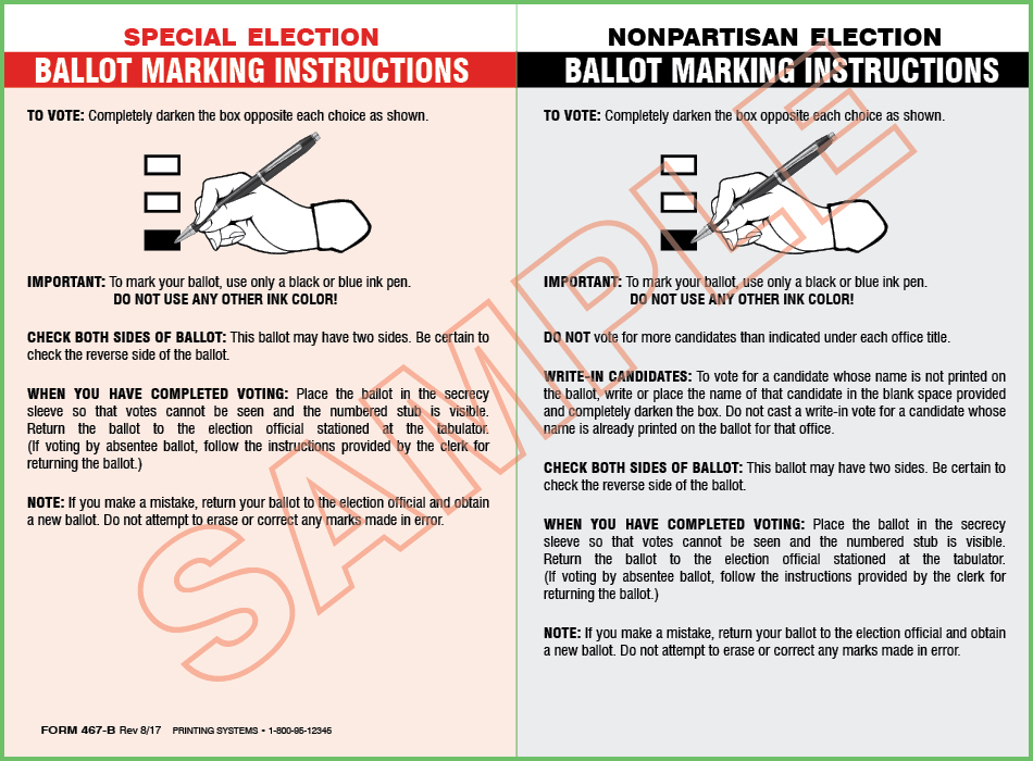 Printing Systems 467 B 4 In 1 Vertical Ballot Instruction Cards