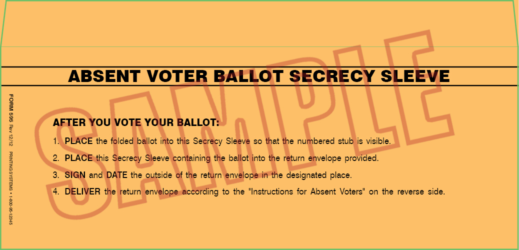 595 AV Ballot Secrecy Envelopes (Generic) (500 per box)