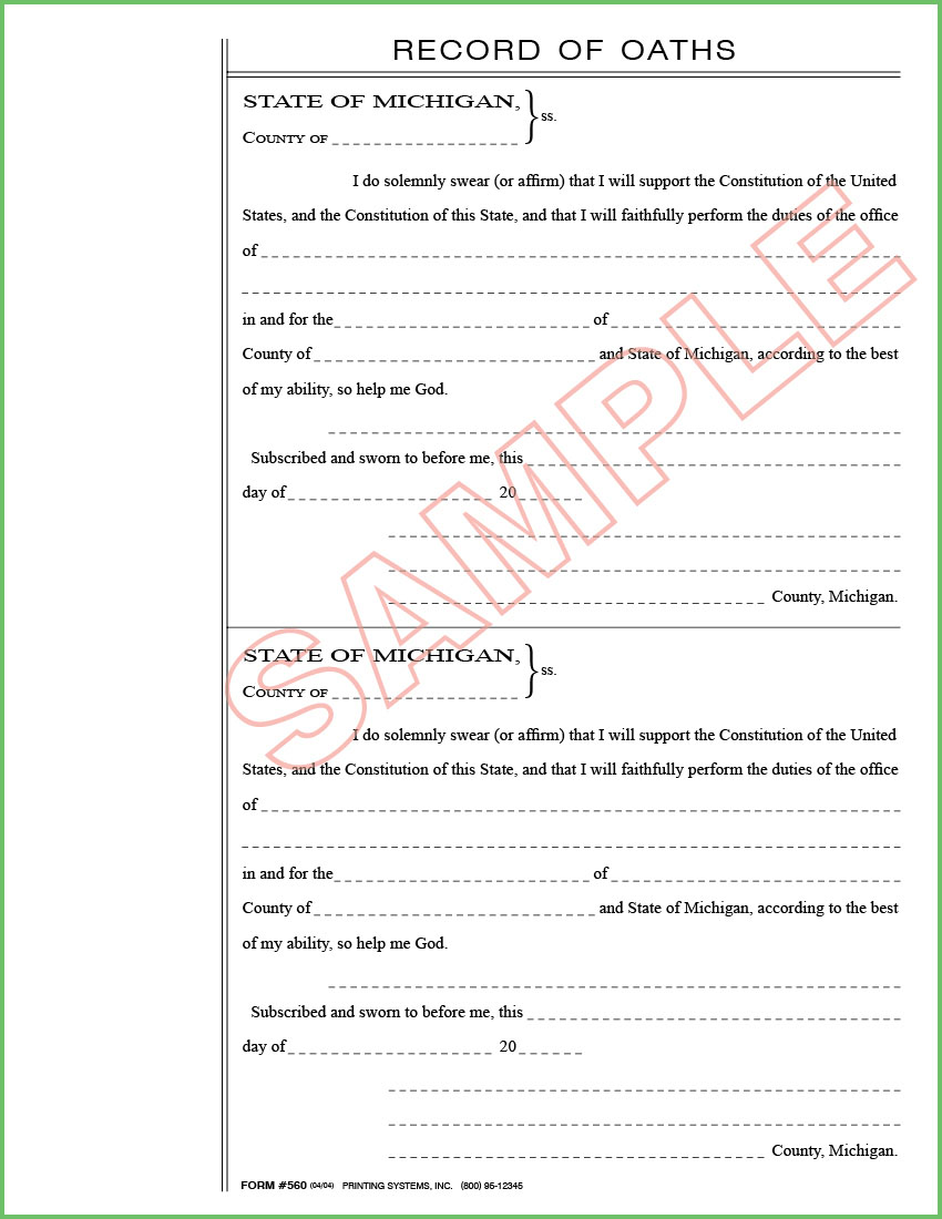 Printing Systems · 560 Oath of Office (50 per pkg) 2 per sheet