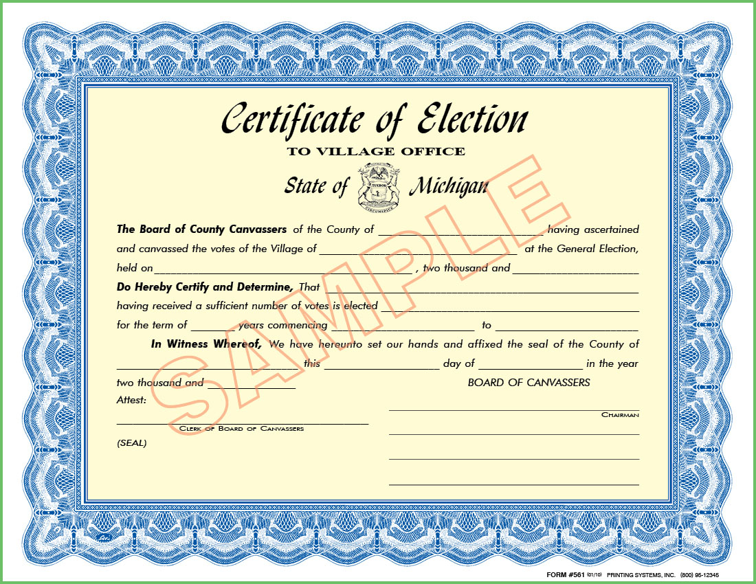 561 Certificate of Election - To Village Office