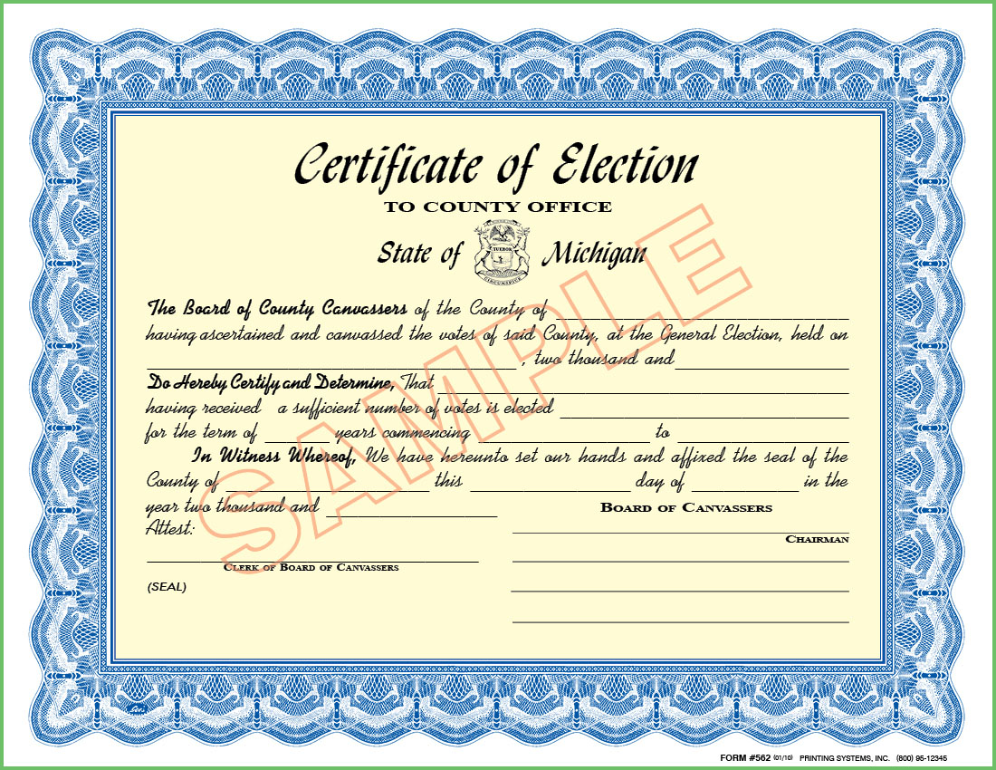 Printing Systems 562 Certificate Of Election To County Office