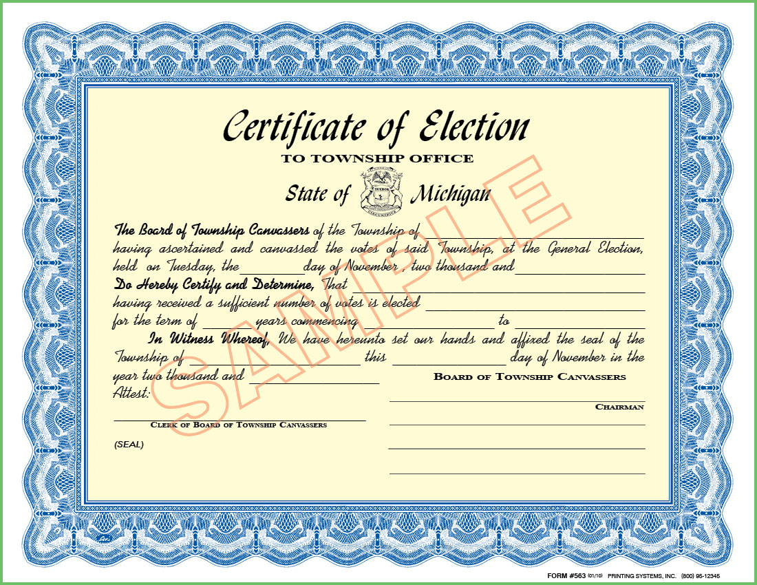563 Certificate of Election - To Township Office