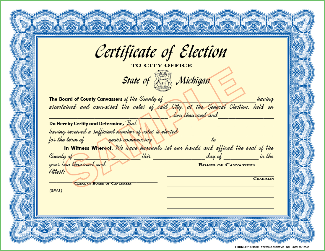 616 Certificate of Election - To City Office / County Board of Canvassers