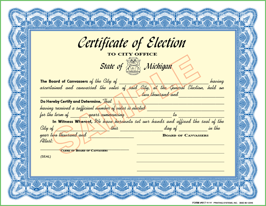 617 Certificate of Election - To City Office / City Board of Canvassers