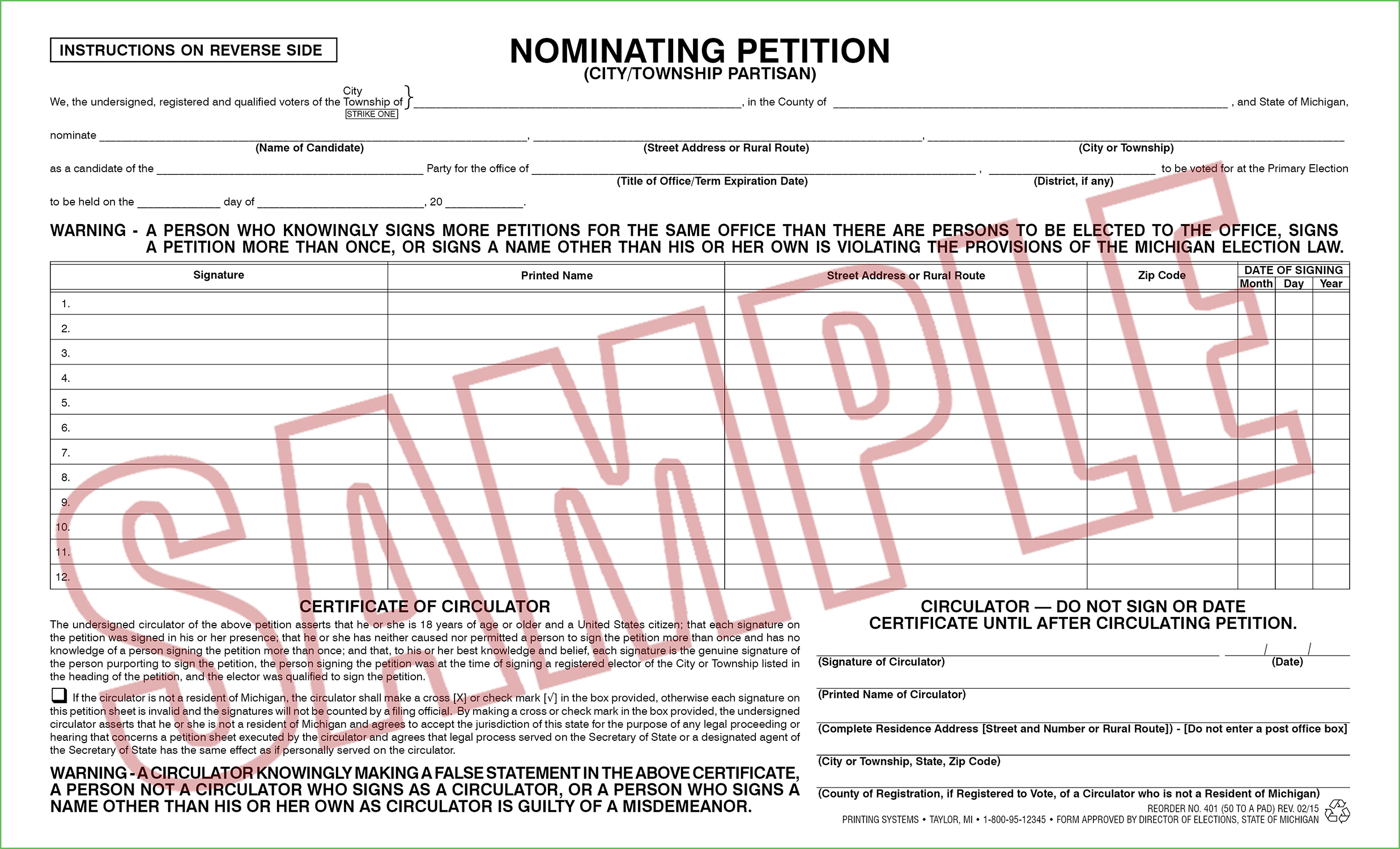 401 Nominating Petition (Ci/Twp) Partisan (50 per pad) Rev. 02/15
