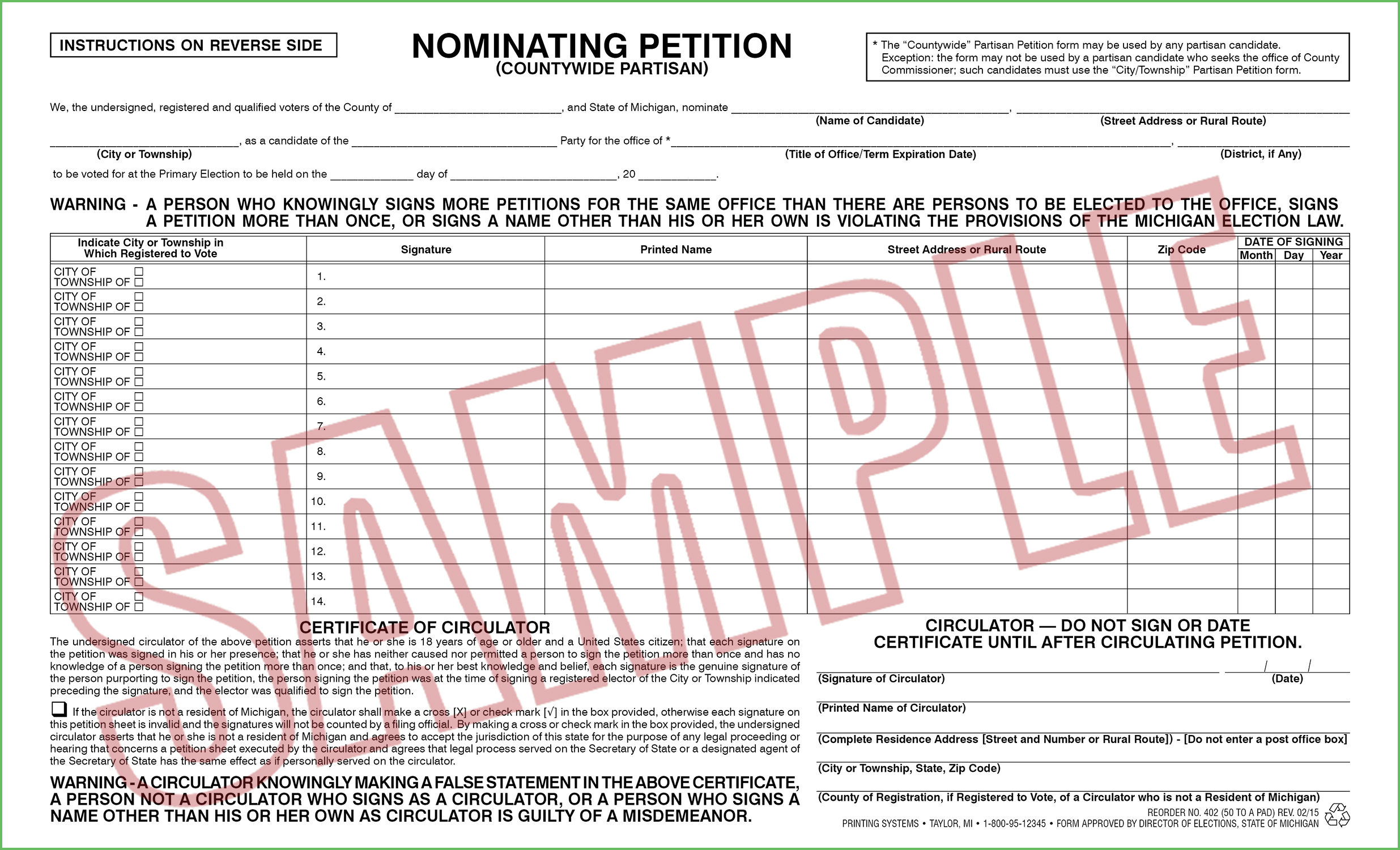 402 Nominating Petition (Countywide) Partisan (50 per pad) Rev. 10/19
