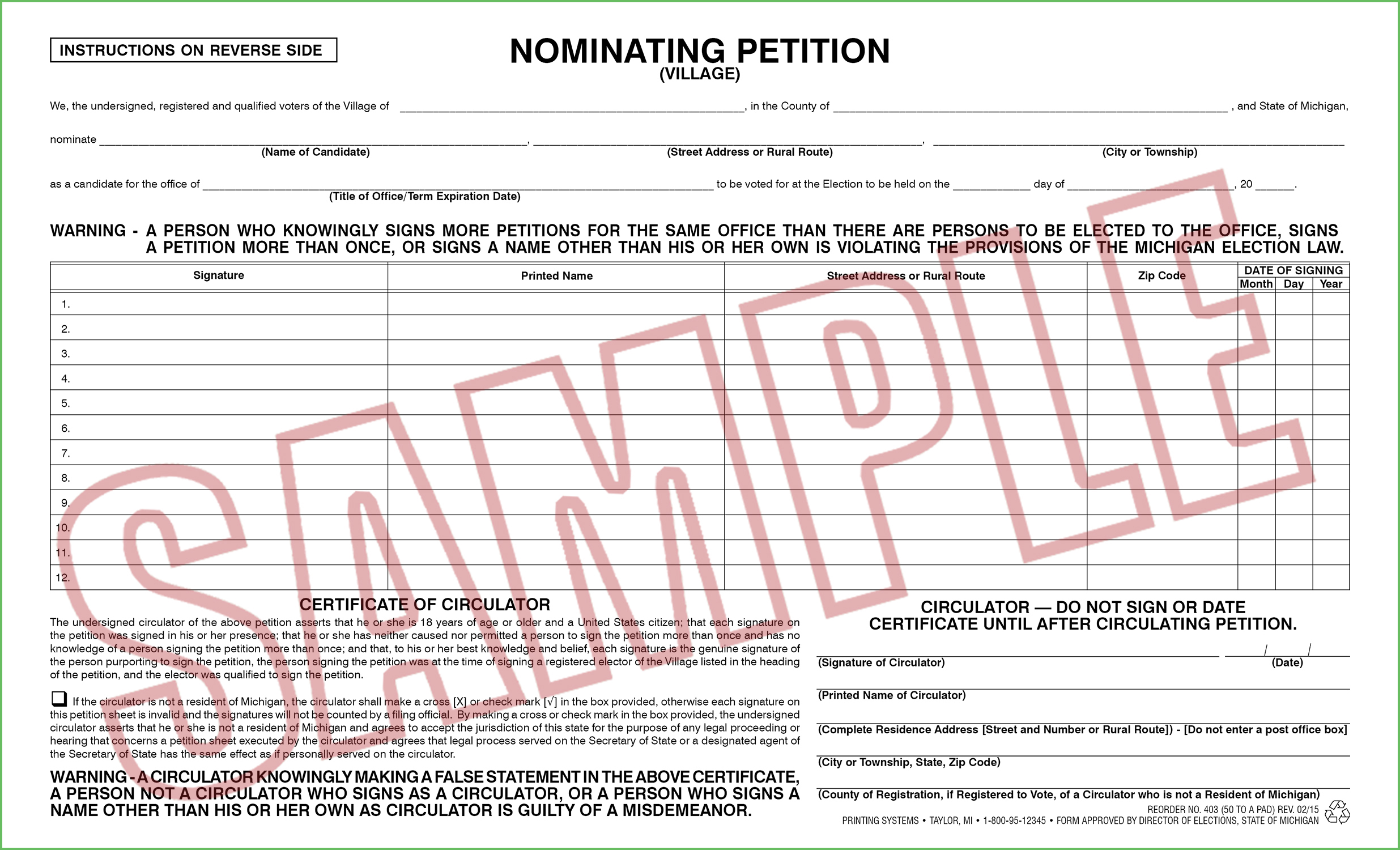 403 Nominating Petition (Village) Nonpartisan (50 per pad) Rev. 02/15