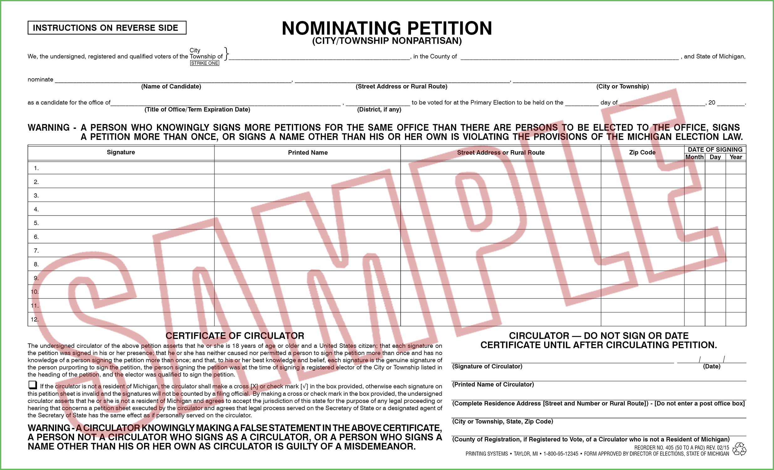 405 Nominating Petition (Ci/Twp) Nonpartisan (50 per pad) 02/15