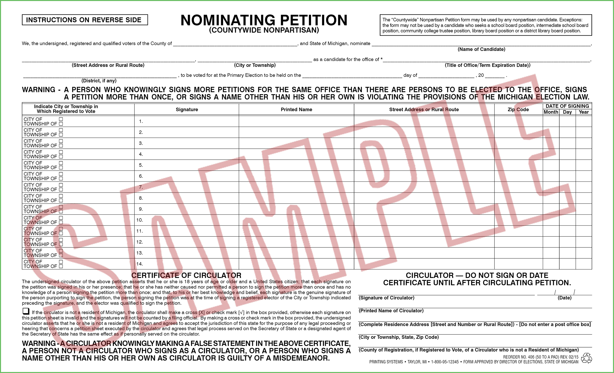 406 Nominating Petition (Countywide) Nonpartisan (50 per pad)