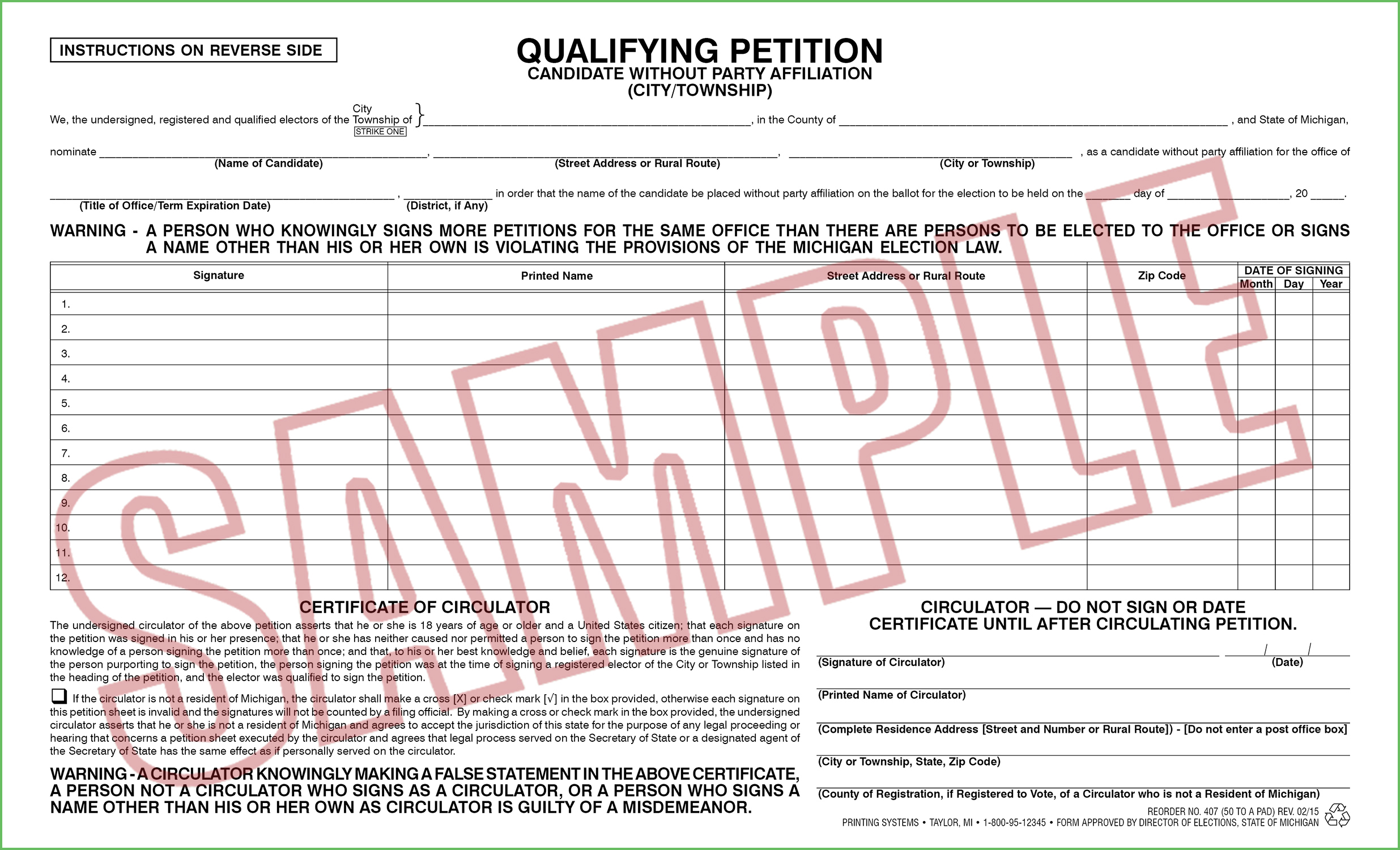 407 Qualifying Petition (Ci/Twp) Candidate w/o Party Affiliation (50 per pad) Rev. 02/15