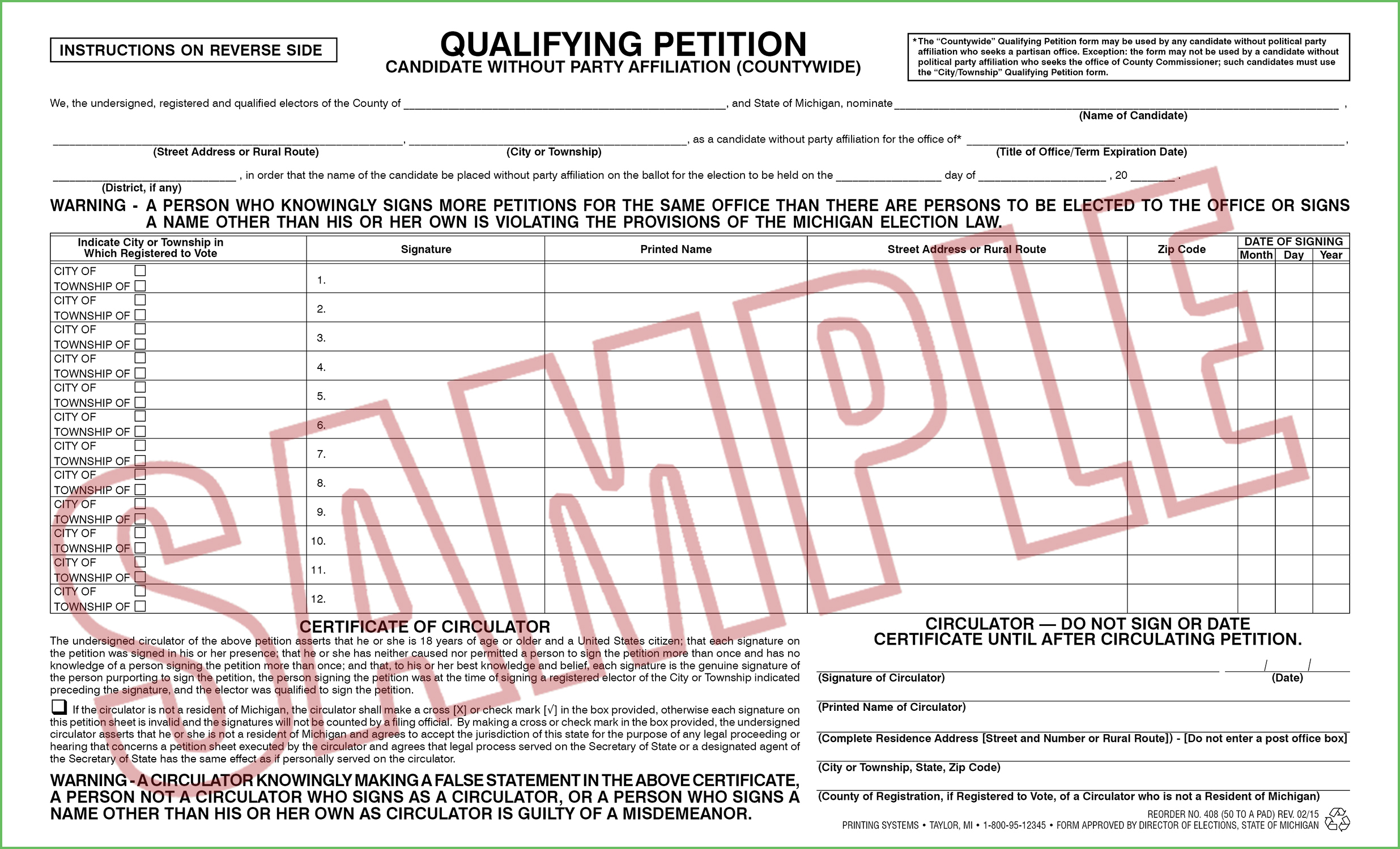 408 Qualifying Petition (Countywide) candidate w/o Party Affiliation (50 per pad) Rev. 10/19